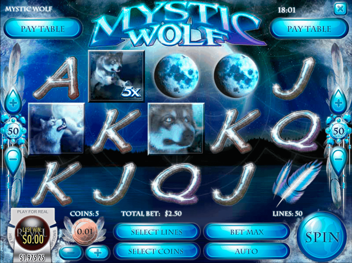 mystic wolf online slot screen