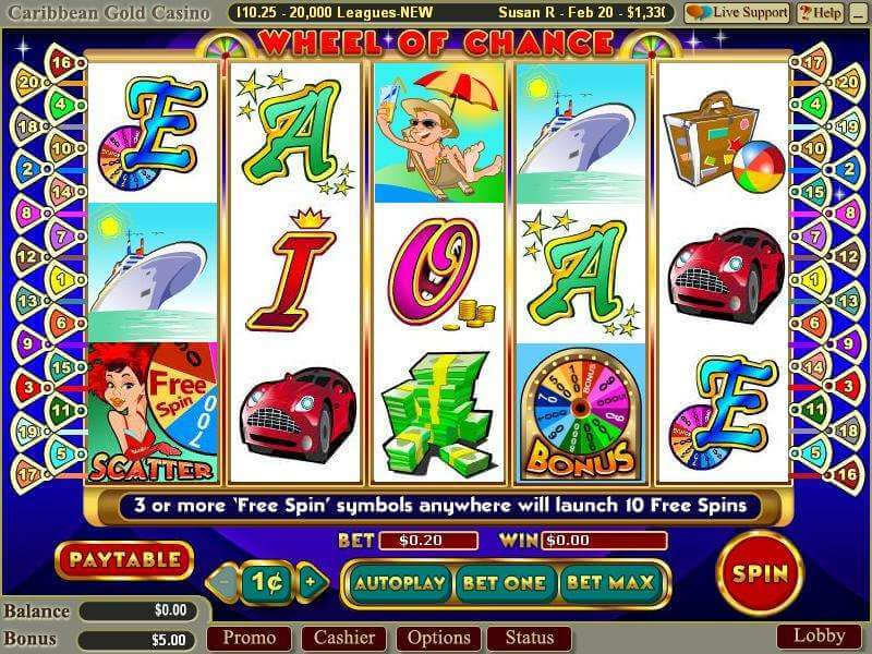 wheel of chance 3 reel screen
