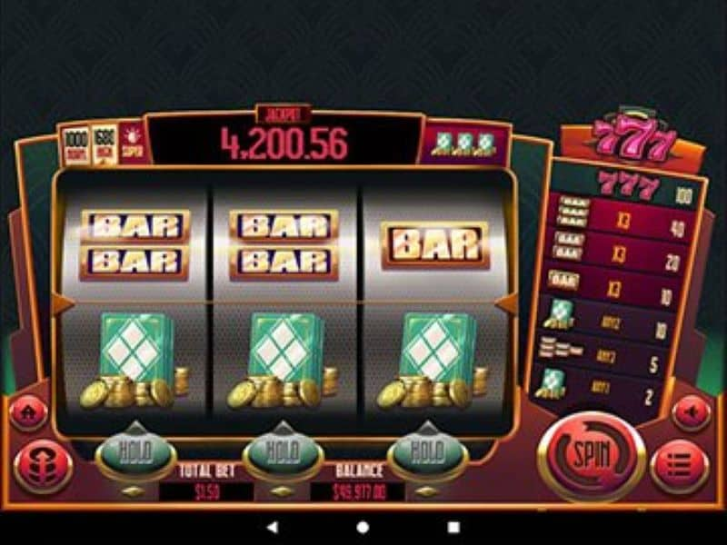 screenshot of 777 online slot game