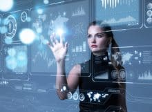 a woman touching a futuristic screen interface