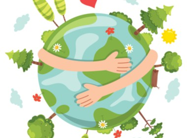 drawing of the earth blooming and two arm hugging the earth