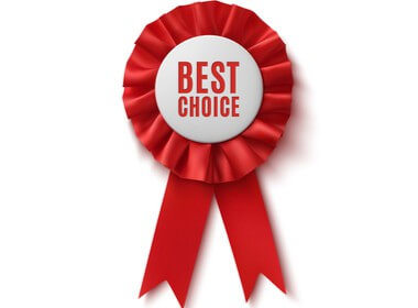 a red winner's ribbon that says best choice on it