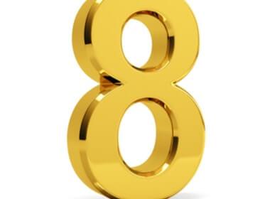 gold 3D number 8