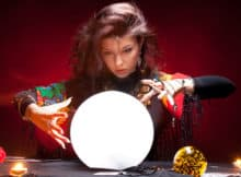fortune teller looking into her crystal ball