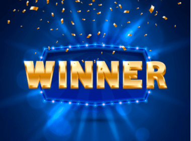 WINNER in gold letters on a blue background