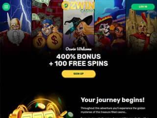 ozwin casino desctop screenshot
