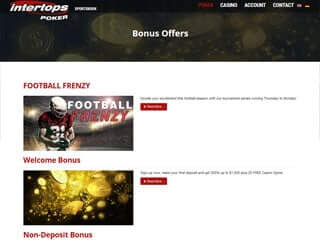 Intertops poker screenshot promotions page