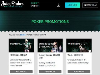 Juicy stakes poker promotion page