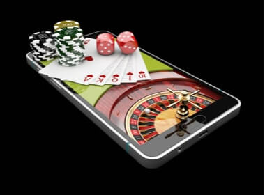 roulette table, chips and dice on a mobile phone screen