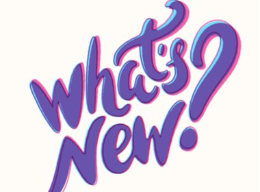 Apa yang Baru dengan tinta ungu pada latar belakang putih