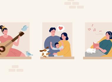 karikatur kartun tiga orang, satu membaca, satu mendengarkan musik, dan satu bermain gitar